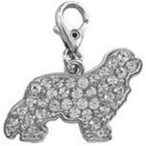 KING CHARLES CAVALIER  CLEAR CRYSTAL CHARM FOR BAGS PHONES JEWELLERY ETC